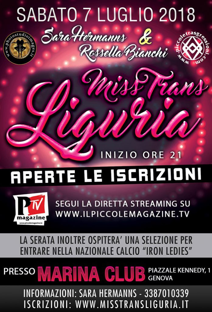 Miss Trans Liguria 2018 Sara Hermanns Rossella Bianchi genova